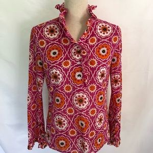 Tory Burch Pink Top Cotton Ruffle Popover 2 XS